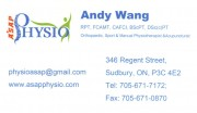 ASAP Physio Sudbury Ontario Physiotherapy Acupuncture Sports Medicine Andy Wang Physiotherapist