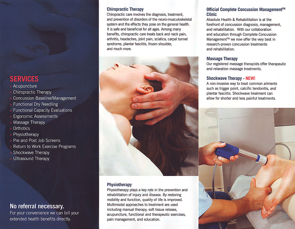 Absolute Health & Rehabilitation Brochure Sudbury, Ontario