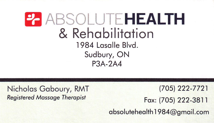 Absolute-Health-&-Rehabilitation-Sudbury-ON-Nicholas-Gaboury-RMT-Registered-Massage-Therapist