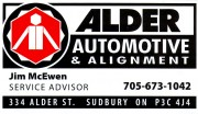 Alder Automotive and Alignment Sudbury Ontario Jim McEwen Car Auto Repair Garages