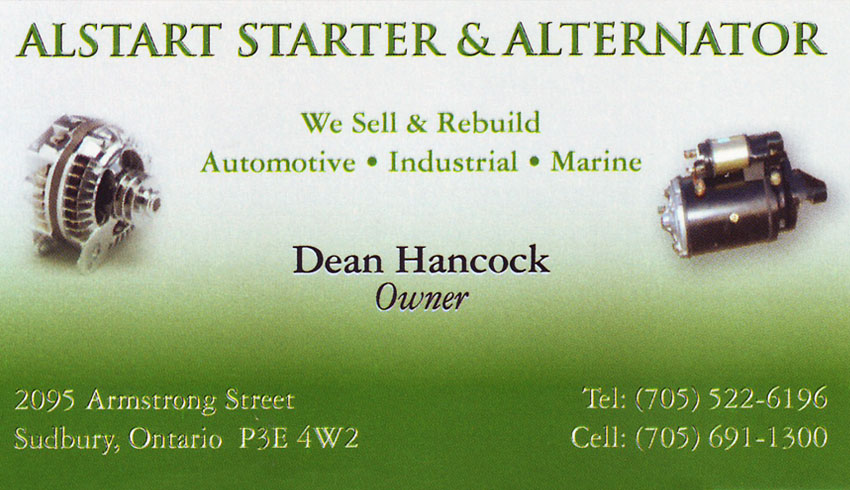 Alstart Starter & Alternator in Sudbury Ontario New and Rebuilt Alternators & Starters Car Electrical Services Dean Hancock Owner