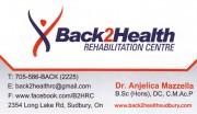 Back 2 Health Rehabilitation Centre Sudbury Ontario Dr. Anjelica Mazzella Chiropractor
