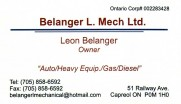 Belanger L Mech Ltd Automotive Repair in Capreol Greater Sudbury Business Card