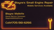 Blayne's Small Engine Repair Sudbury and Surrounding Areas Blayne Mallette Mobile Services Available