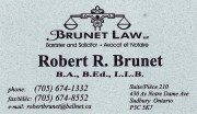 Brunet Law LLP Lawyers Robert R Brunet Sudbury Business Card