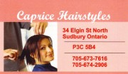 Caprice Hairstyles-Sudbury Ontario Hairdressers and Beauty Salons