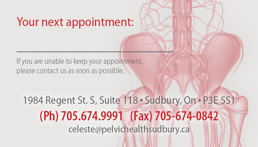 Celeste-Bouffard-Pelvic-Health-Physiotherapy-Sudbury-Ontario-Appointment-Card