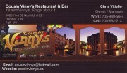 Cousin Vinny's Restaurant and Bar in Hanmer Greater Sudbury Business Card
