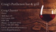 Craigs Parthenon Bar and Grill in Val Caron Greater Sudbury Business Card
