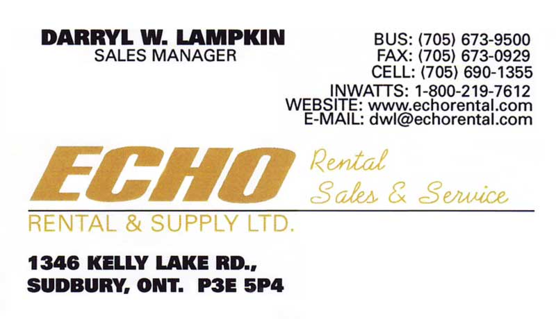 Echo Rental And Supply Ltd Kelly Lake Road Sudbury Business Card
