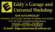 Eddy's Auto Repair Garage in Sudbury Ontario Auto Repair and Service including Brakes Diesel Engines Heavy Equipment Edwardo Gooden
