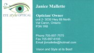 Eye Style Optical Val Caron Greater Sudbury, Janice Mallette, Optician, Owner