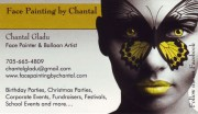Face Painting By Chantal Gladu Sudbury Business Card