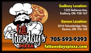 Fat Tuesdays Pizza Sudbury and Garson Ontario Pizzerias Sub Sandwiches Panzerottis