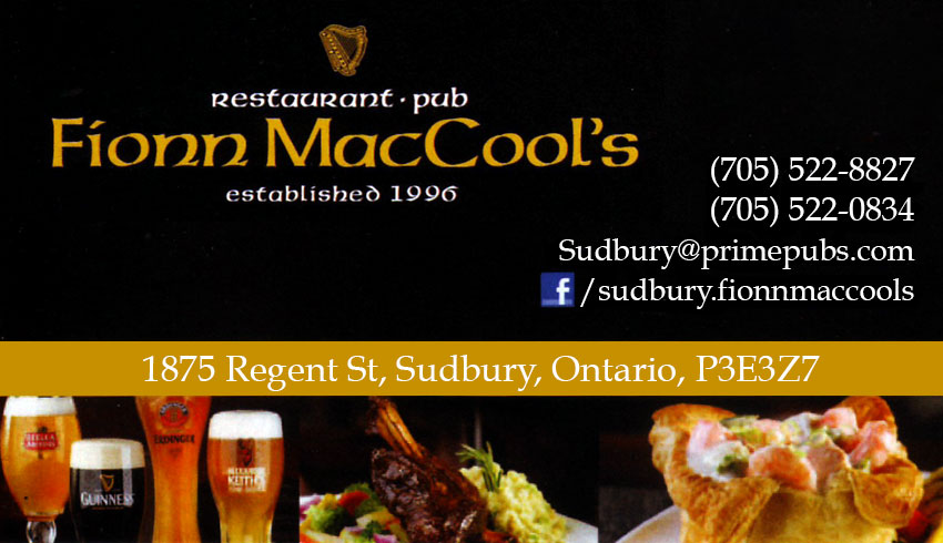 Fionn Maccols Sudbury Ontario Regent Street Restaurant Bar Irish Pub Tavern