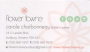 Flower Towne Carole Charbonneau Florist Owner Sudbury Business Card