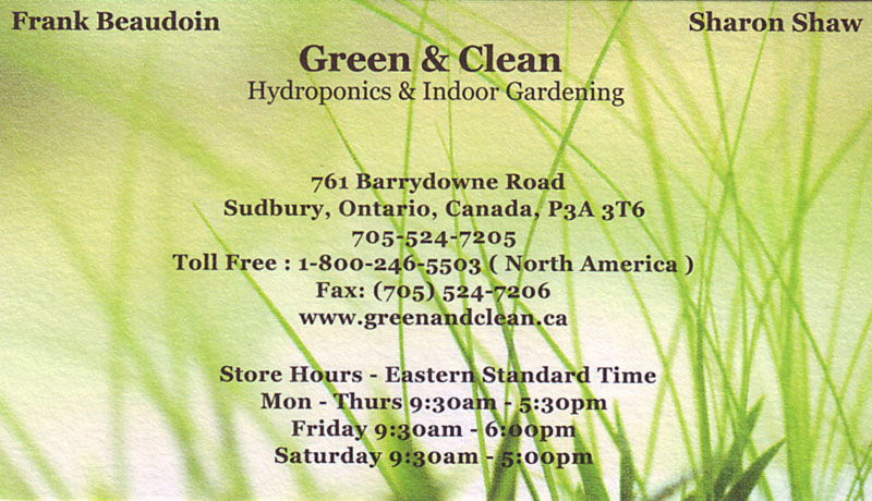 Green & Clean Hydroponics Hydroponic Systems and Indoor Gardening Sudbury