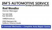 Jim's Automotive Service Sudbury Ontario Auto Repair Garage Rod Wendler