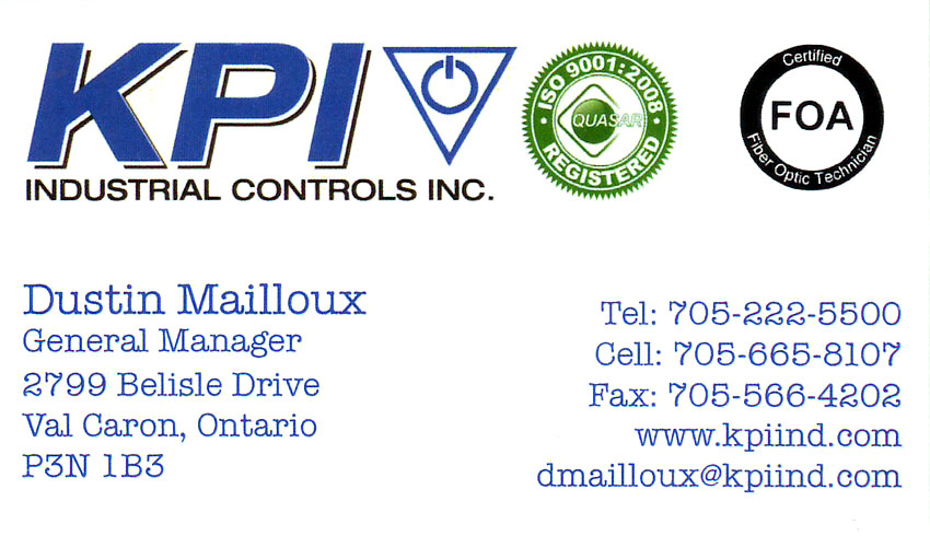 KPI Industrial Electrical Controls Inc Val Caron Sudbury Ontario Dustin Mailloux Mining Equipment Supplies Instrumentation