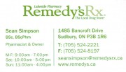 Lakeside Pahrmacy Remedy Rx Sudbury Ontario Sean Simpson Pharmacist
