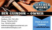 Leather Works Plus Inc Sudbury Ontario Ben Guindon Leather Goods Repair Retail Boat Covers Upholstery Shoe Repair
