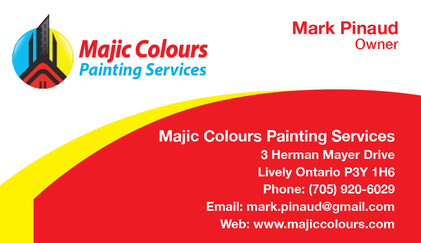 Majic Colours Painting Services in Lively Greater Sudbury Business Card Mark Pinaud