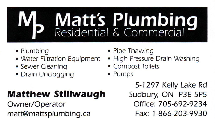 matts-plumbing-sudbury-ontario-matthew-stillwaugh-plumbers-plumbing-contractors-pumps-sewer-cleaning-drain-unclogging-pipe-thawing