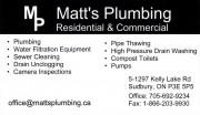 Matt's Plumbing Sudbury Ontario Plumbers & Plumbing Contractors