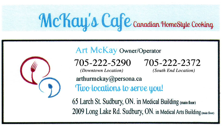 McKays Cafe Sudbury Ontario Canadian Homestyle Cooking Brunch and Breakfast Restaurants