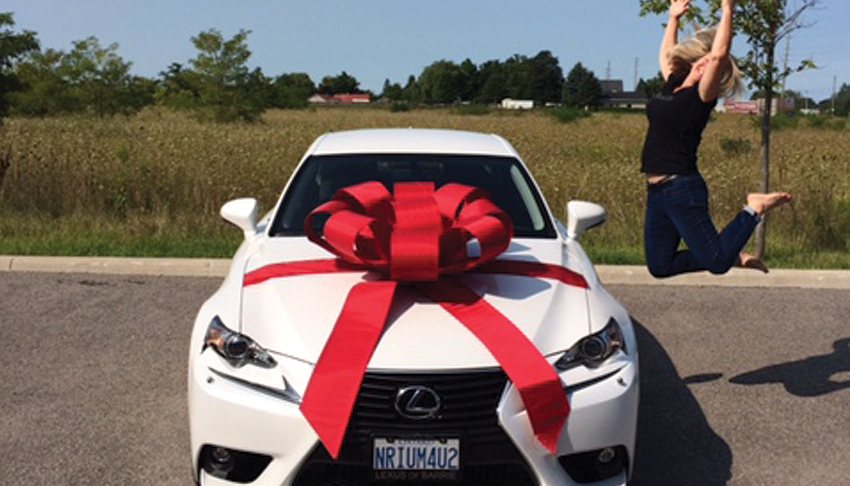 Nerium-International-Karen-Mathewson-Earned-Free-Lexus-Luxury-Car-Jump-for-Joy-Sudbury-Ontario