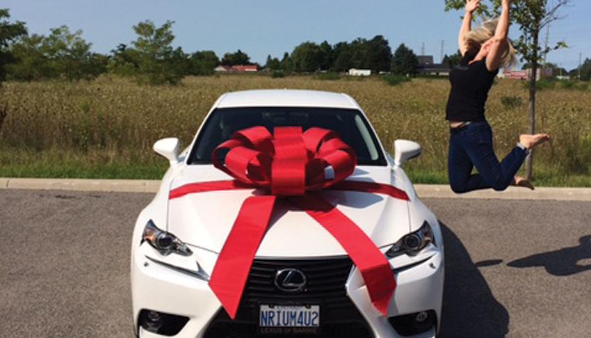 Nerium-International-Karen-Mathewson-Earned-Free-Lexus-Luxury-Car-Jump-for-Joy-Sudbury-Ontario