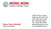 Nickel Acme Printers Sudbury Ontario Peter Vom Scheidt Sales Consultant