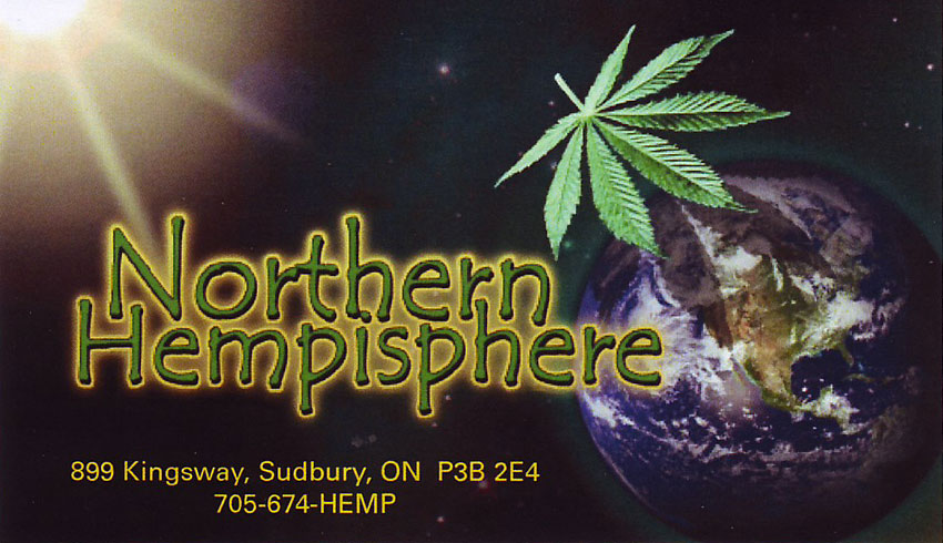 Northern Hempisphere Pipes and Smoke Shop in Sudbury Ontario Business Card