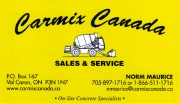 Carmix Canada Limited On Site COncrete Services Greater SUdbury Val Caron Ontario Norm Maurice