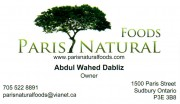 Paris Natural Foods Sudbury Health FOod Stores Vitamins Supplements Ontario