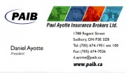 Paul Ayotte Insurance Brokers Ltd in Sudbury Ontario Daniel Ayotte