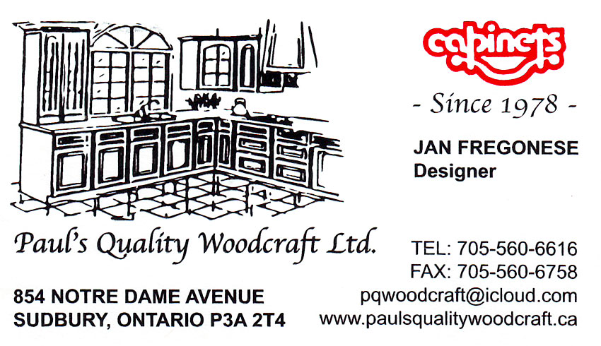 Pauls Quality Woodcraft and Custom Kitchen Cabinets Ltd in Sudbury Ontario Business Card