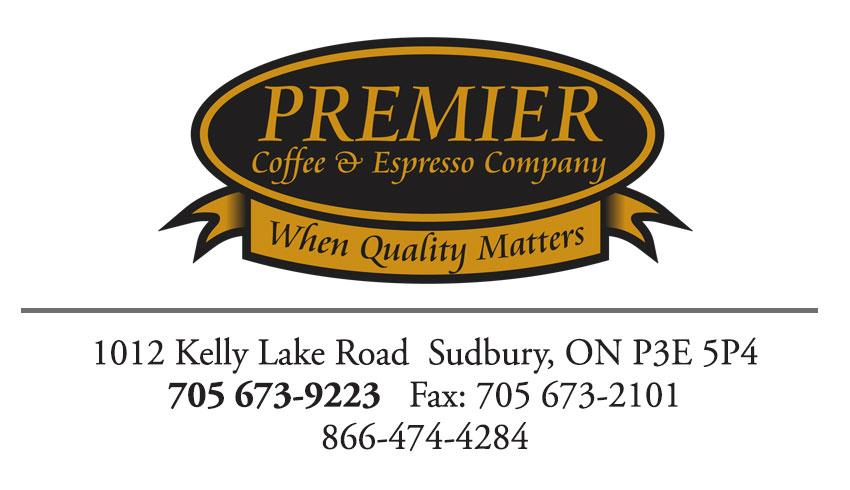 Premiere Coffee and Espresso Company Sudbury Ontario Business Card