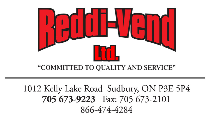 Reddi-Vend Ltd Sudbury Ontario Vending Machines Business Card