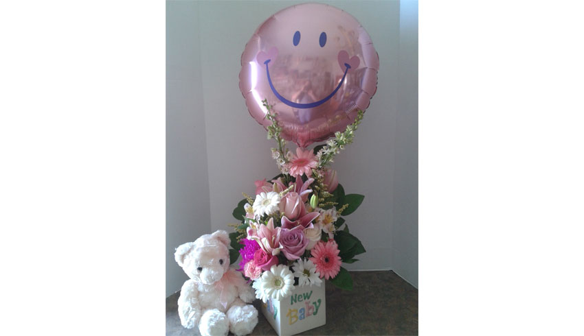 Regency-Wine-and-Flowers-Sudbury-Ontario-new-baby-arrival-teddy-bear-balloon-and-flower-arrangement