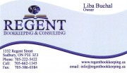 Regent Bookkeeping and Consulting Liba Buchal Sudbury Ontario Business Card