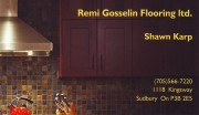 Remi Gosselin Flooring Ltd in Sudbury Ontario Business Card