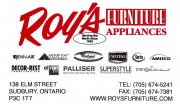 Roys Furniture and Appliances in Sudbury Ontario Business Card