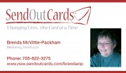 SendOutCards Brenda McVittie Packham Independent Distributor Sudbury Ontario Business Card