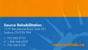 Source Rehabilitation Services in Sudbury Ontario Business Card