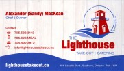 The Lighthouse Take Out Catering Bakery Restaurant and Sandwich Shop in Sudbury Ontario Business Card