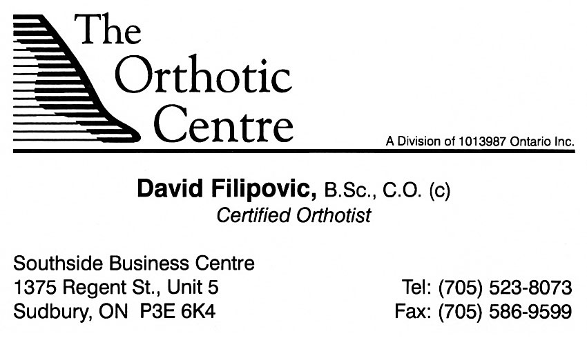The Orthotic Centre Sudbury Ontario Business Card David Filipovic