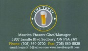 The Trevi Bar & Grill Restaurant and Catering in Sudbury Ontario Business Card