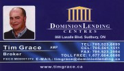 Tim Grace Mortgage Broker at Dominion Lending Centres in Sudbury Ontario Business Card