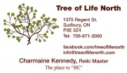Tree Of Life North Holistic Health Reiki and Gift Shop in Sudbury Ontario Business Card